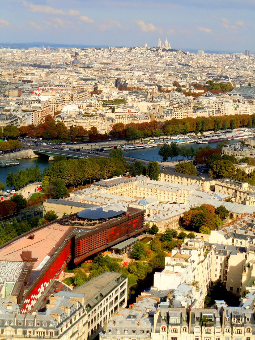 Eiffel Tower view to Montmartre with the seine in the foreground