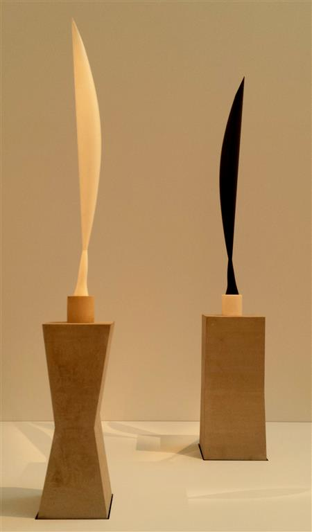 white and black marble versions of Constantin Brâncuși: Bird in Space Canberra